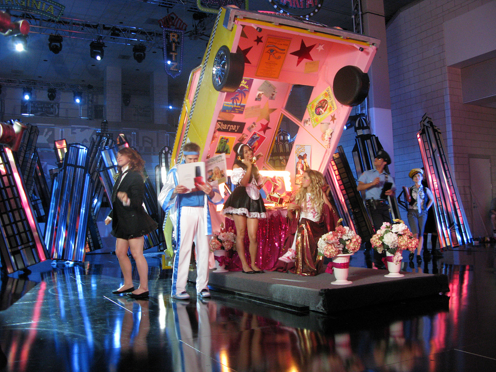 "A photo of the ""Taxi/dressing room"" element for the ""I Want it All"" musical number from ""High School Musical 3"" (2008). Here it is in it's ""dressing room"" configuration."