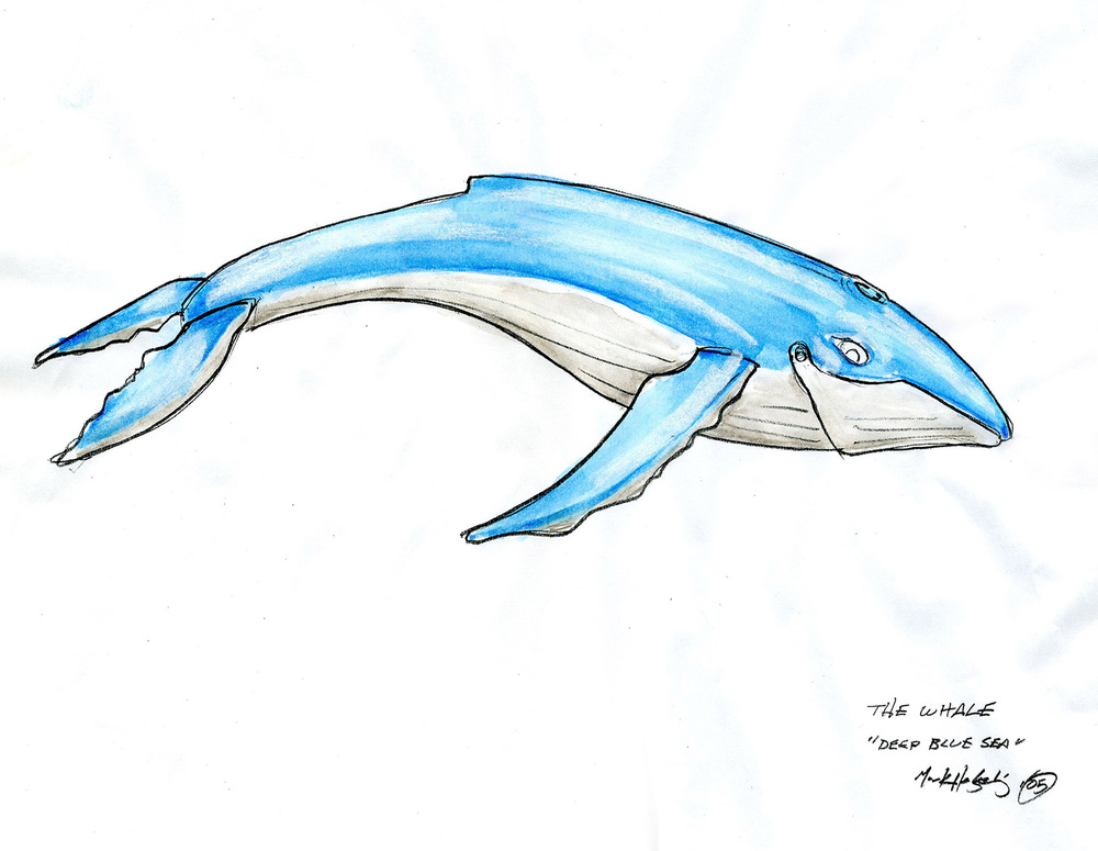 "Full-color working drawing for the articulated whale for the ""Deep Blue Sea"" themed prom scene from ""Read it and Weep"" (2006)."