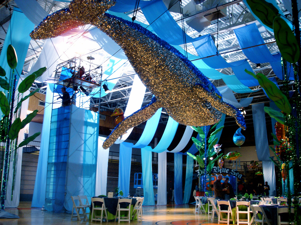"A photo of the completed articulated whale and kelp towers at the ""Deep Blue Sea"" themed prom scene from ""Read it and Weep"" (2006)."