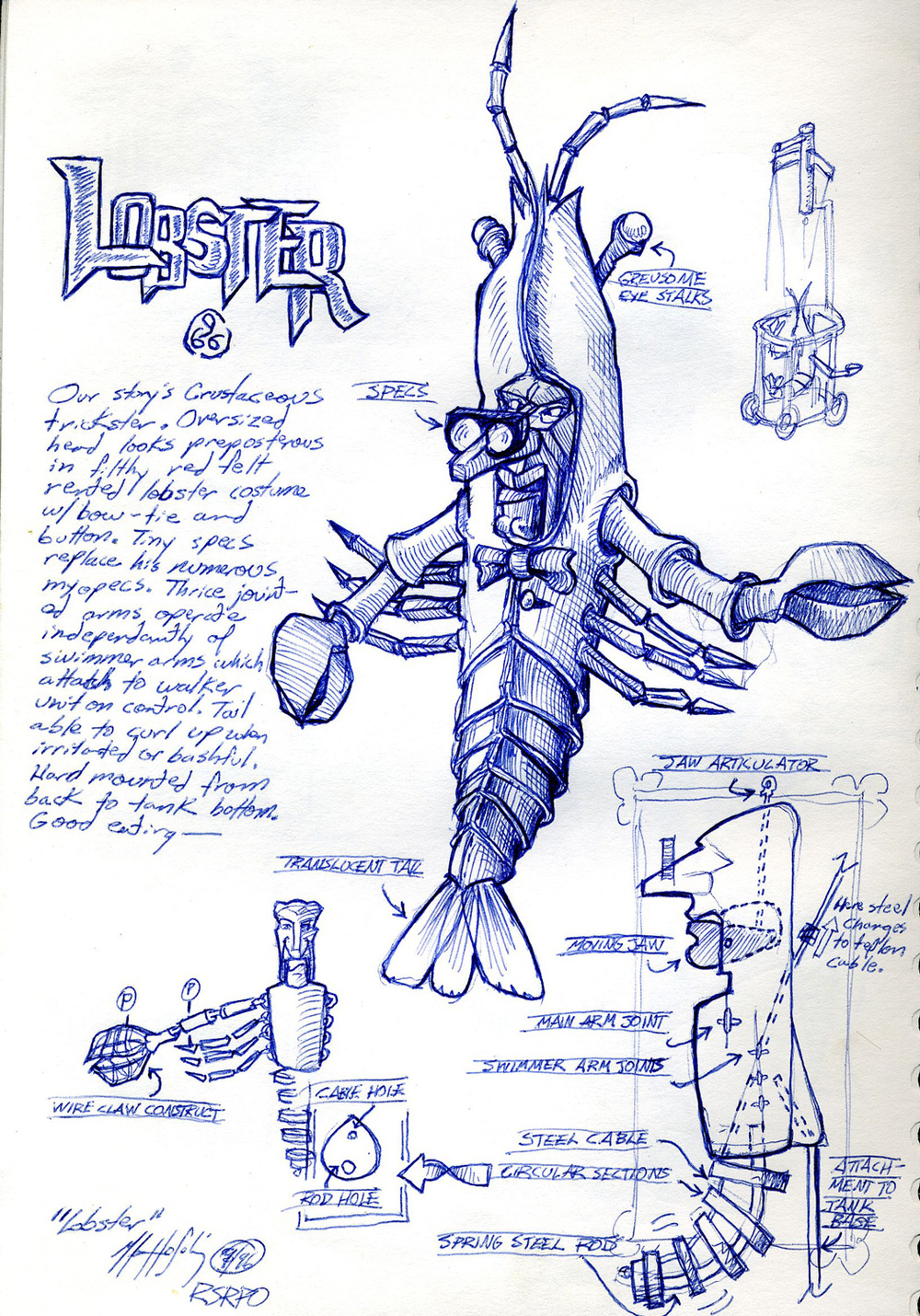 """Lobster"" character sketch from an unproduced puppet opera."