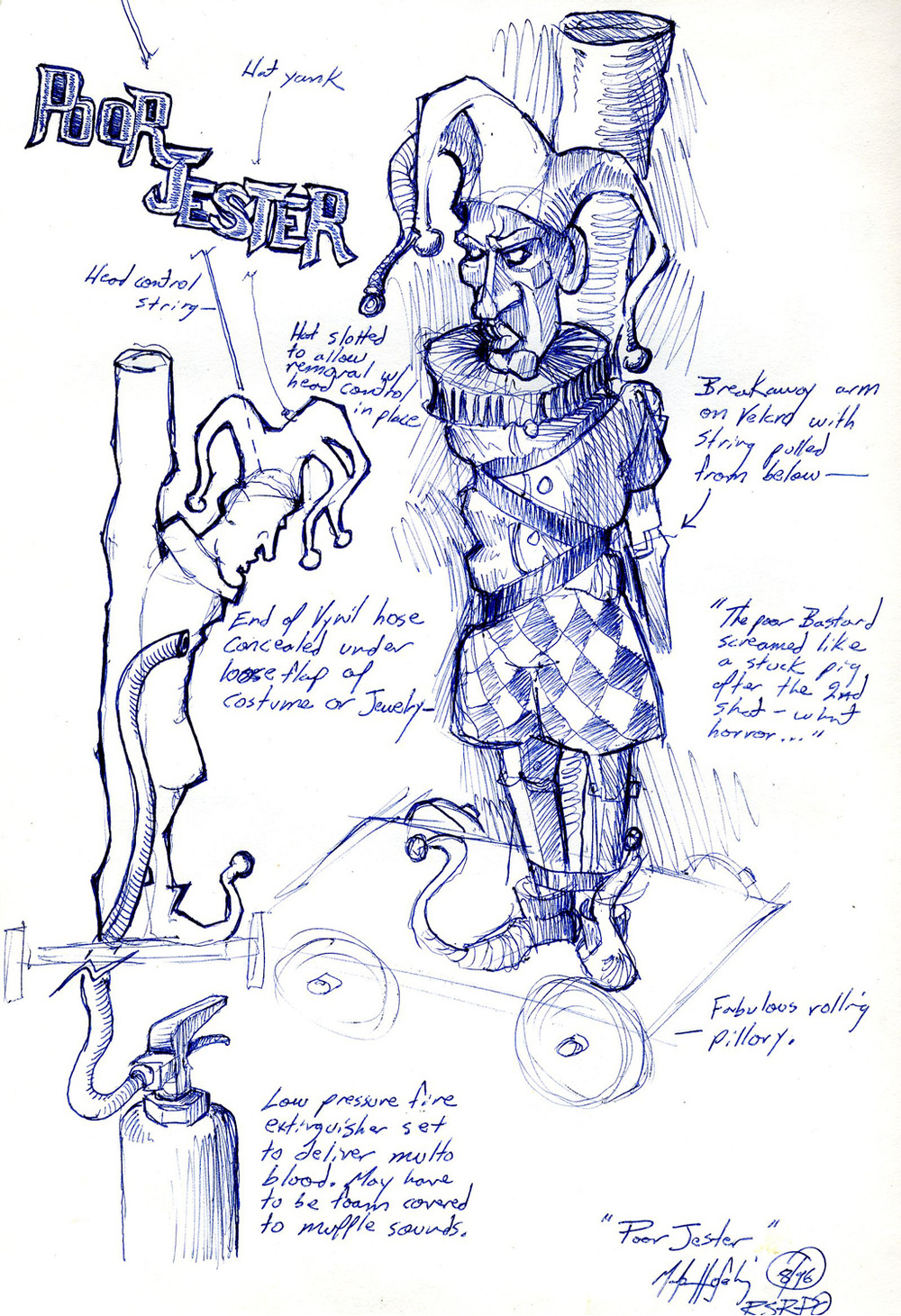 "Pilloried ""Jester"" set for bloody execution character sketch from an unproduced puppet opera."