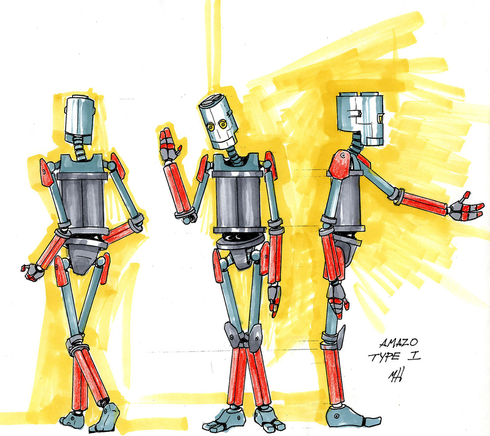 Robot character sketch for an unproduced project.