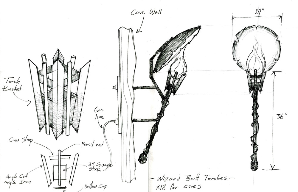 "A working drawing for the torches and hammered reflectors for the ""Wizard Cave"" from ""The Wizards of Waverly Place: The Movie"" (2009)."