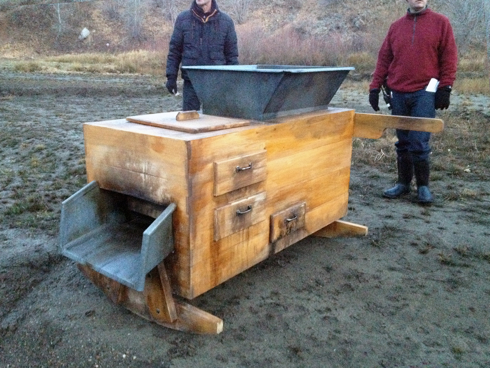 This is our version of the deadly quicksilver machine. We were unable to find any good visual research on this one. So we made our best guess from written descriptions. It essentially used a reservoir of mercury to separate gold nuggets from silt, which miners then cleaned with their mouths.