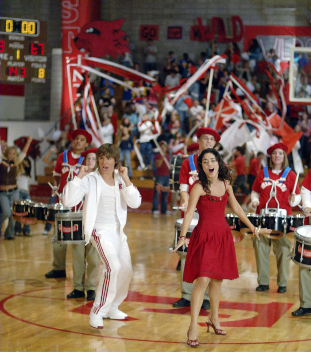 "Troy and Gabriella (Zach Efron and Vanessa Hudgens) dance in the finale ""We're all in this Together""."