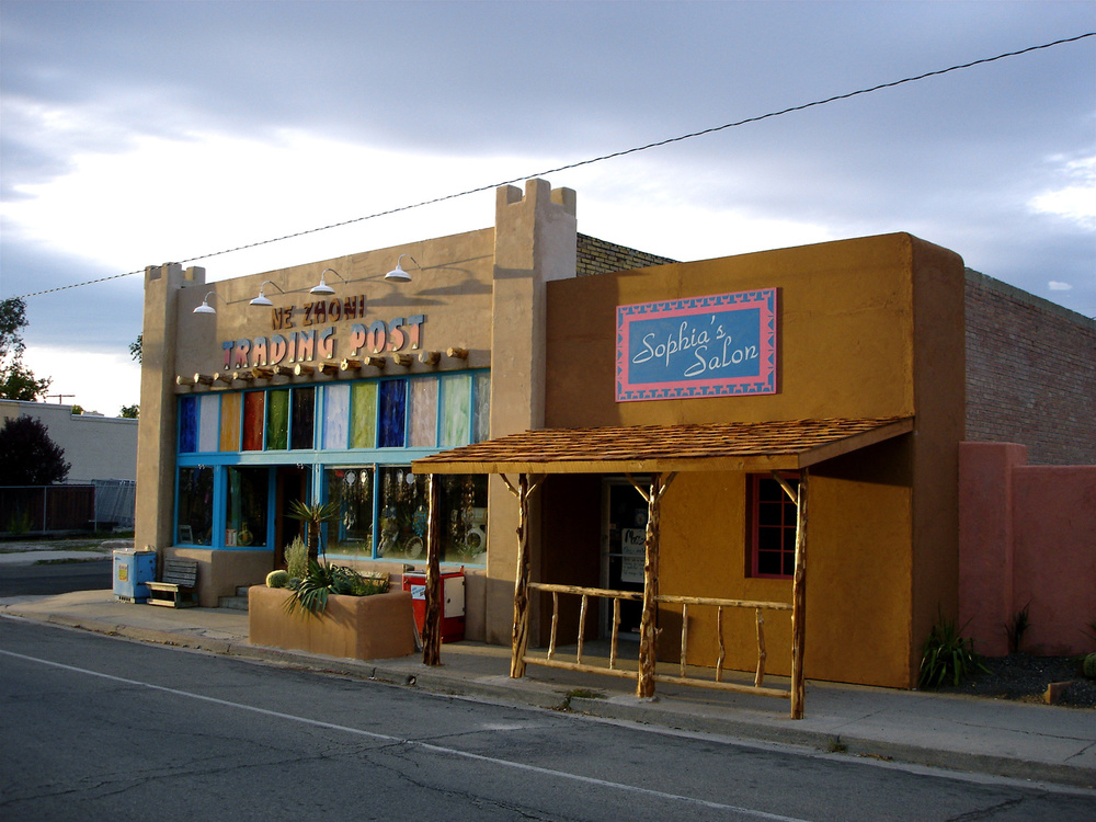 We re-facaded several buildings on an old main street to create a Santa Fe-style fictional, small New Mexico tourist town.