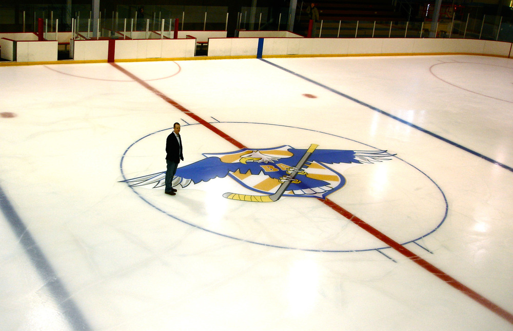 Huge eagle graphic frozen into the hockey rink.