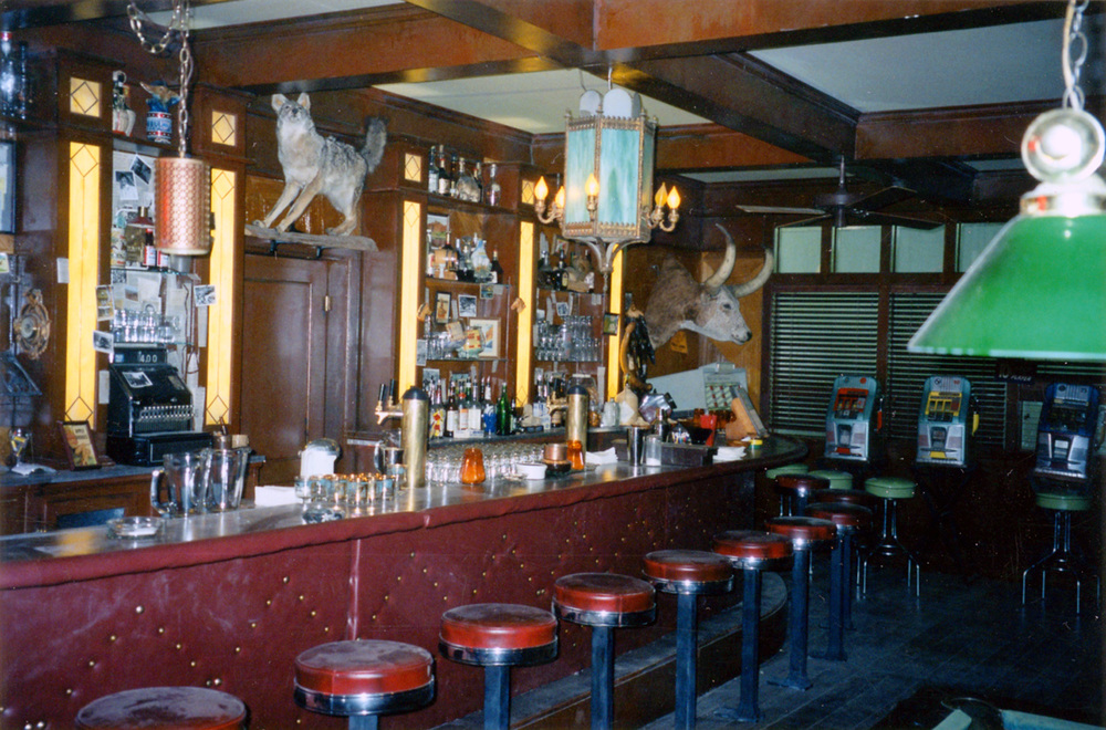 Reverse of the bar area in the Dayton town bar interior stage set.