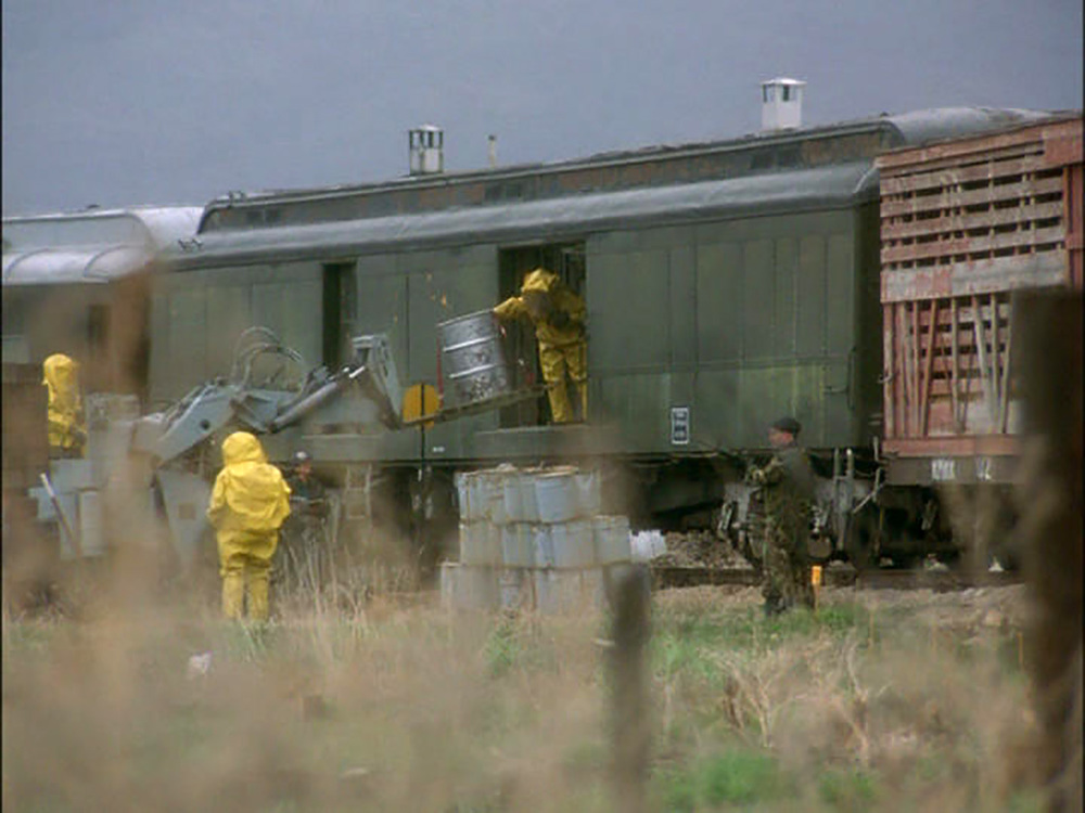 "Practical train car modified for ""hazardous material"" transport."