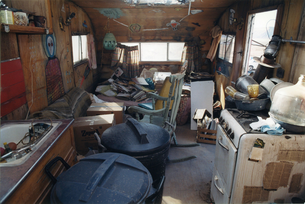 Squalid interior of the abandoned UFO fanatic's trailer.