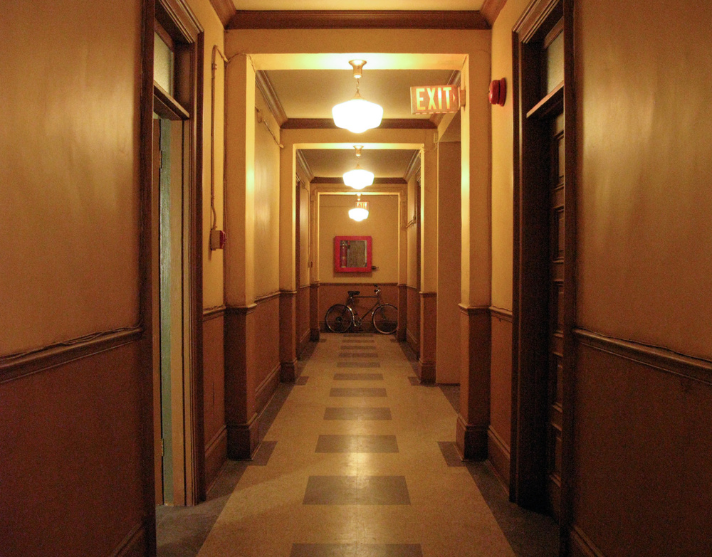 Upon her arrival in New York Sharpay (Ashley Tisdale) is thrown out of her prearranged penthouse, and is rescued by  young film maker Peyton (Austin Butler), who takes her to a spare apartment in his rough, dirty East Village walk-up. This is the hallway we built to connect the apartment sets.
