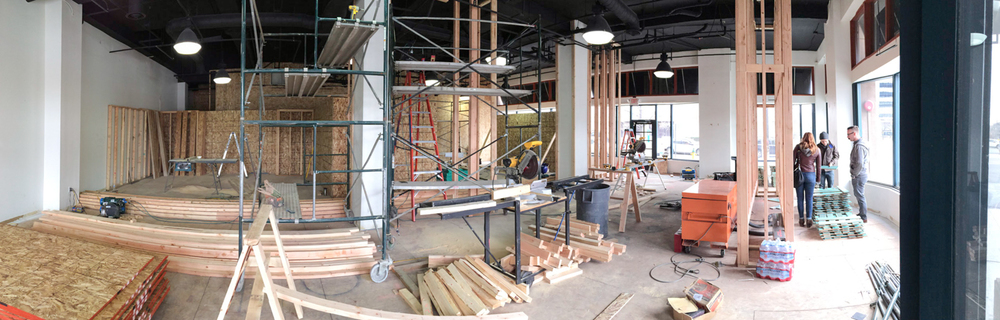 Our clients took over this 2,000 sq foot space for a high end, contemporary Western gallery. We began our work in a former bicycle shop in an historic building about five weeks before the gallery opened. This is a panorama of the early stages of our work.