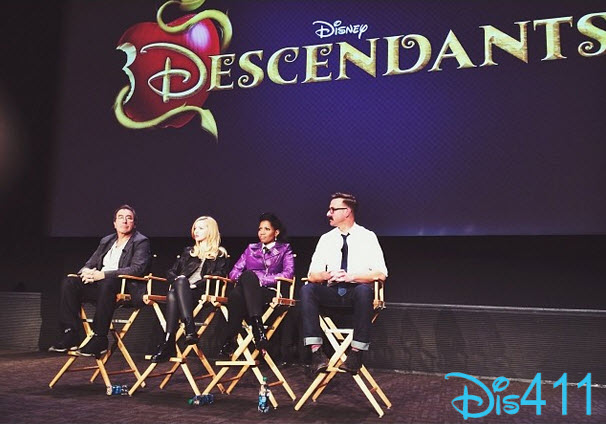 A still from our creative presentation of the art and design of Descendants to executives of Disney. From left to right: Kenny Ortega, director: Dove Cameron, lead actor; Kara Saun, costume designer; Mark Hofeling, production designer.  (Disney Publicity photo)