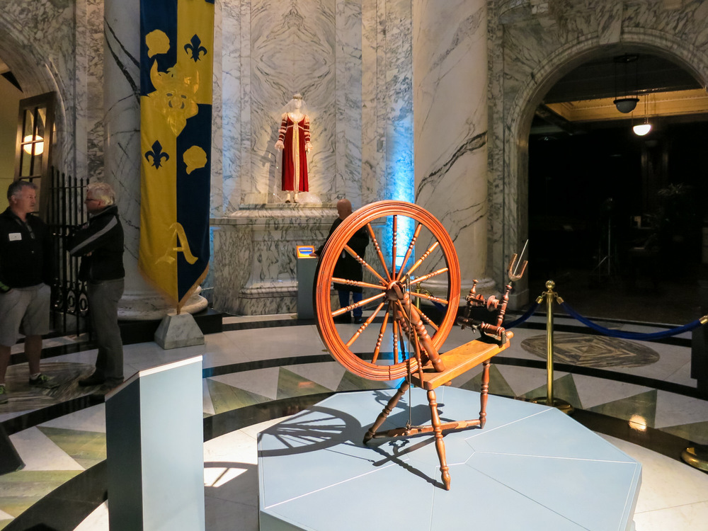 A detail shot of the famed spinning wheel from Sleeping Beauty in the Museum of Cultural History.