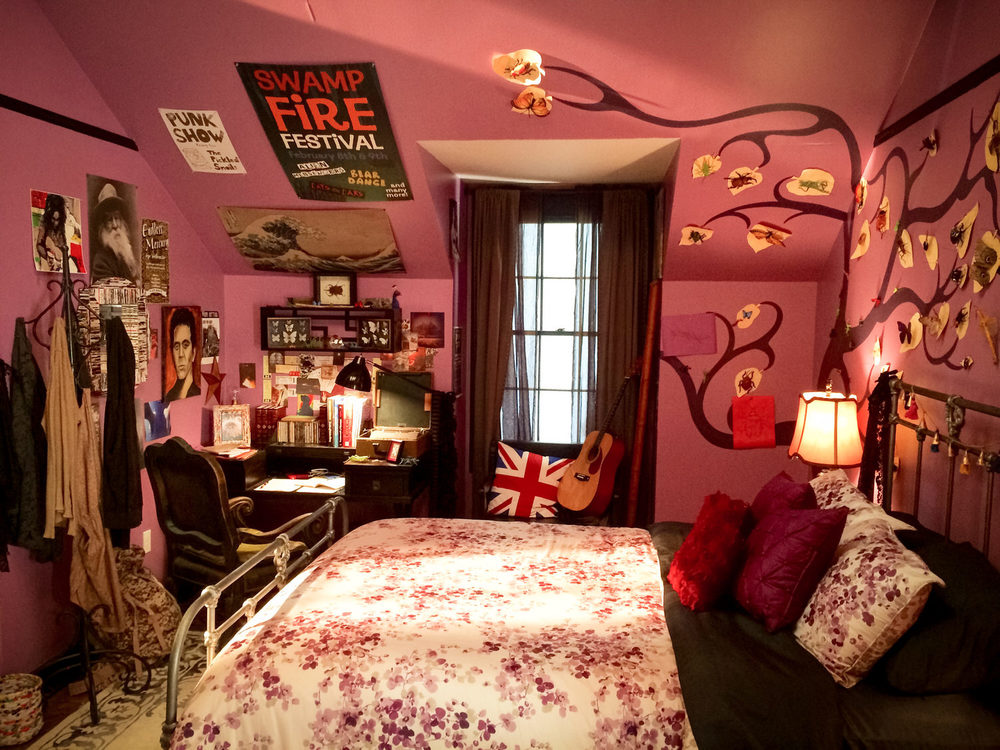 We built the upper floor of the family home as a stage set. This is Cleo's (Rowan Blanchard) room.