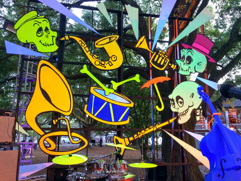 Our whimsical, skeletal jazz band theme also became the backdrop for the band at Romp the Swamp.