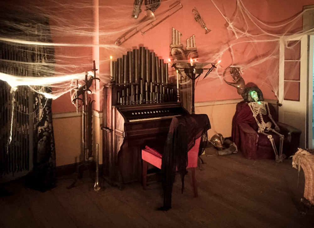 The ballroom set up for the Ghost's Ball in the haunted plantation.