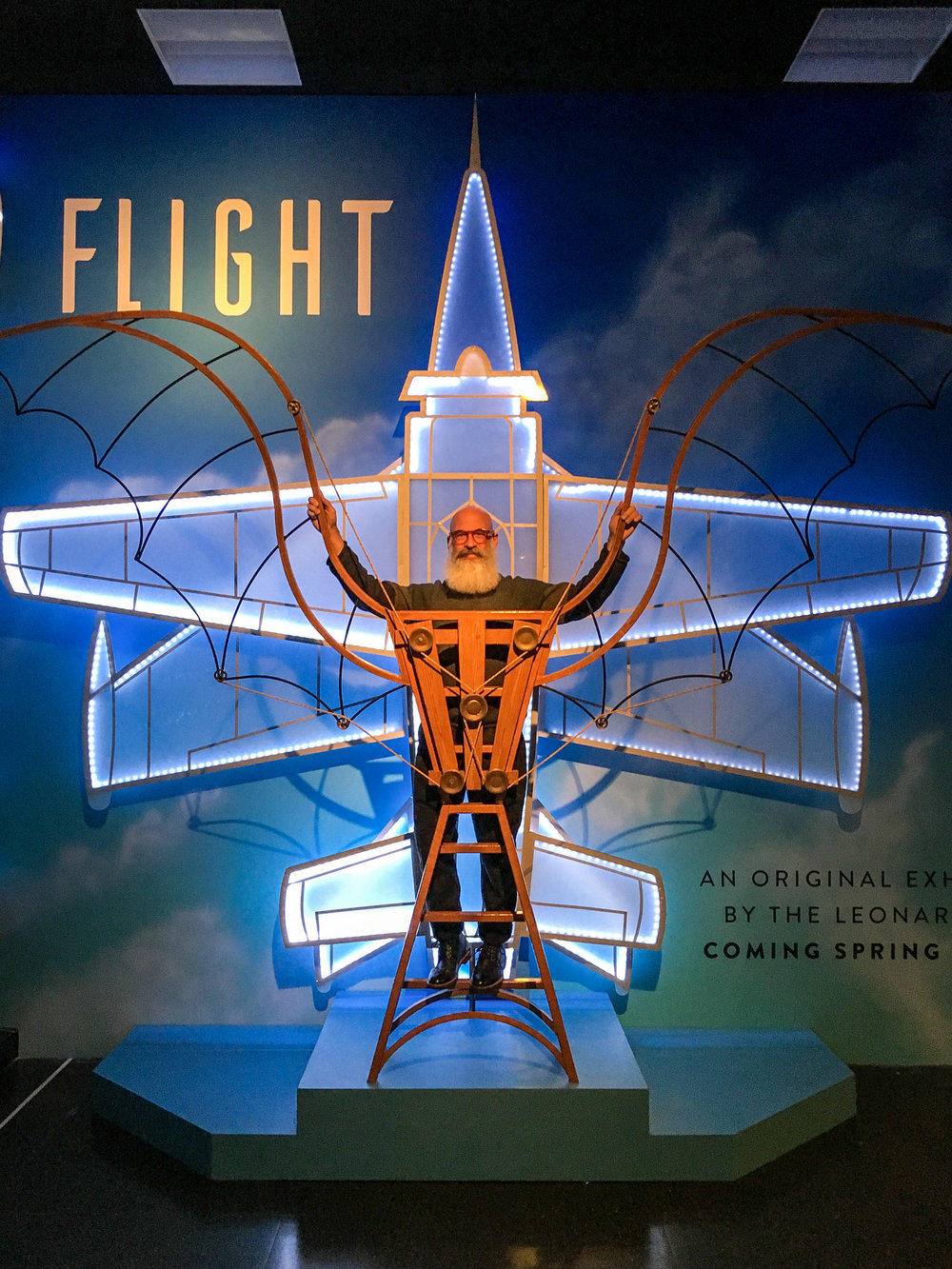 "Before opening, the Leonardo wanted some kind of ""coming soon"" teaser to raise public awareness of FLIGHT. We quickly designed and built this photo-op for visitors to climb onto and share via social media."