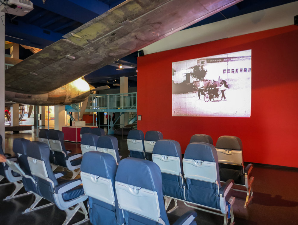 Skywest airlines generously donated airline seats, with which we created a theater. Programming for the theater will vary, but for daily use it plays an amazing compilation of historic flops compiled by film maker and CSB collaborator Conor Provenzano.