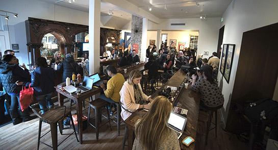 A typically busy day for the Utah Film Commission Living Room at Sundance 2016.
