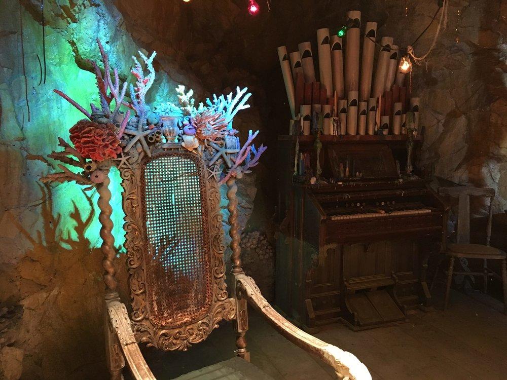 A detail of Uma's coral throne.