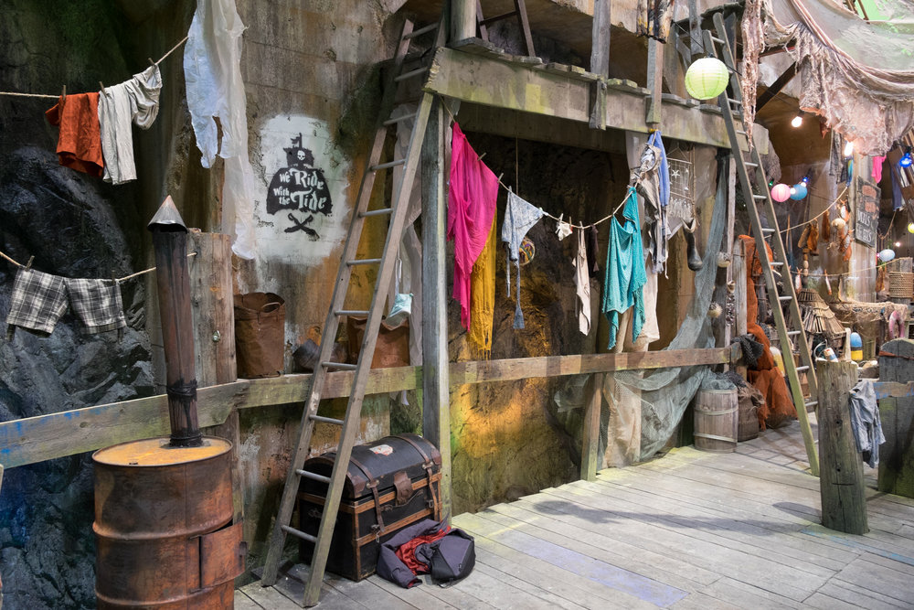 A detail shot of the rotten dock set on the Isle of the Lost.