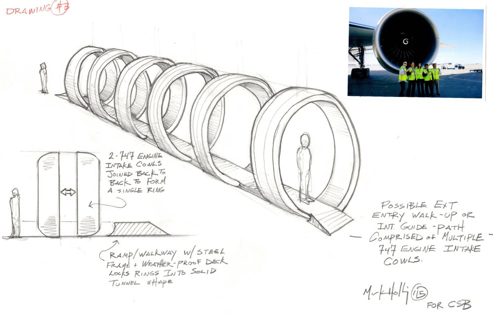 This was a proposal for an entry tunnel made of 747 engine cowlings. Unfortunately the museum did not own the exterior space required for this.