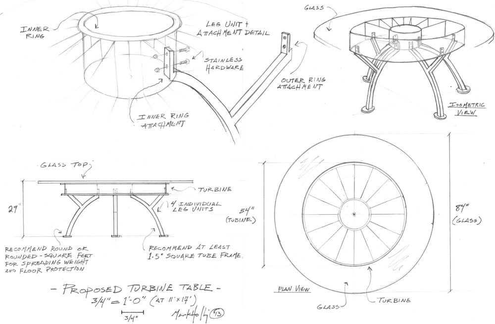 I partnered with an aircraft recycler to repurpose large aircraft engine parts into a furniture line. Here's the sketch of the first prototype.