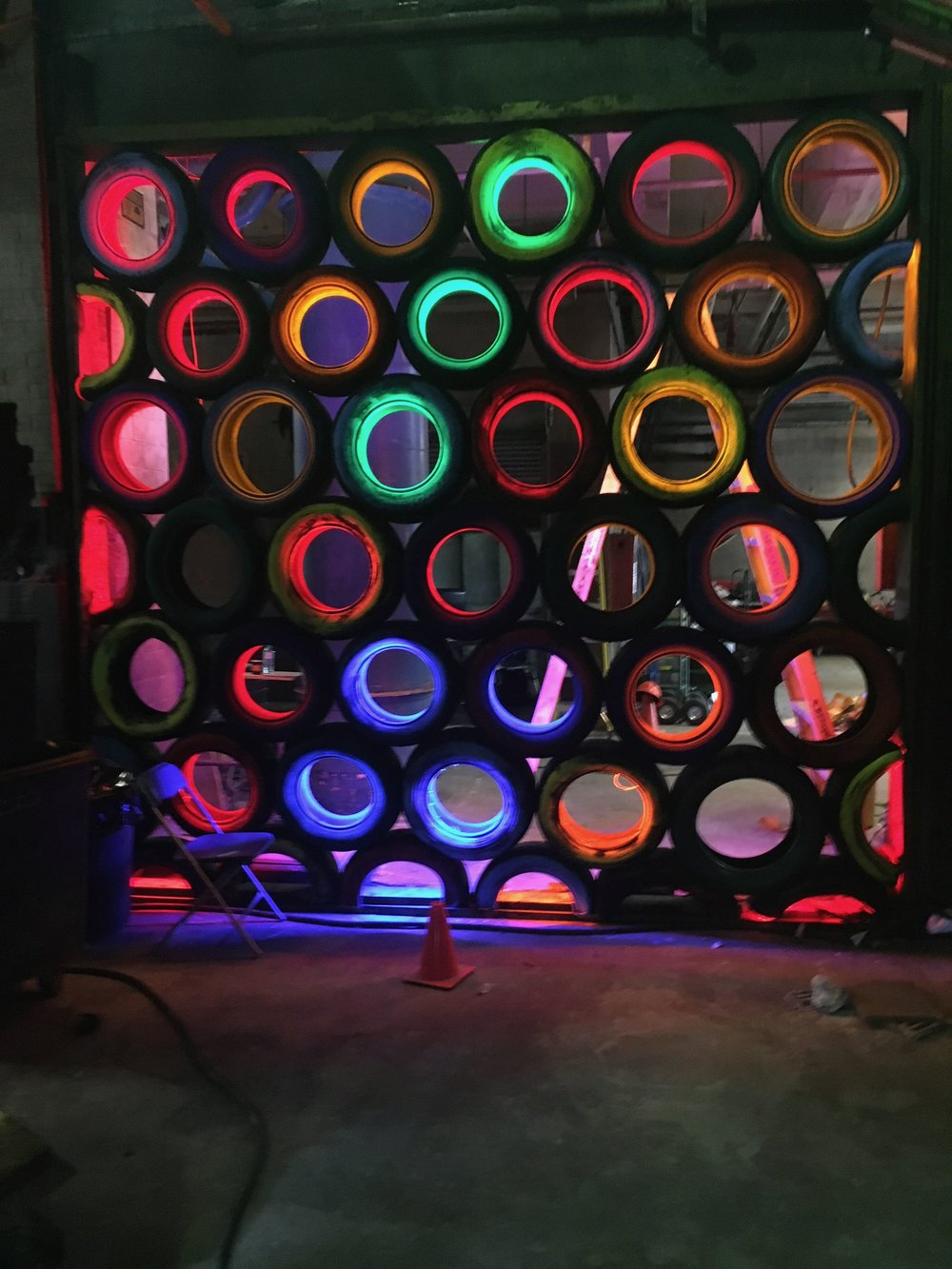 The tire wall had full spectrum LED's lining the interiors of each tire.