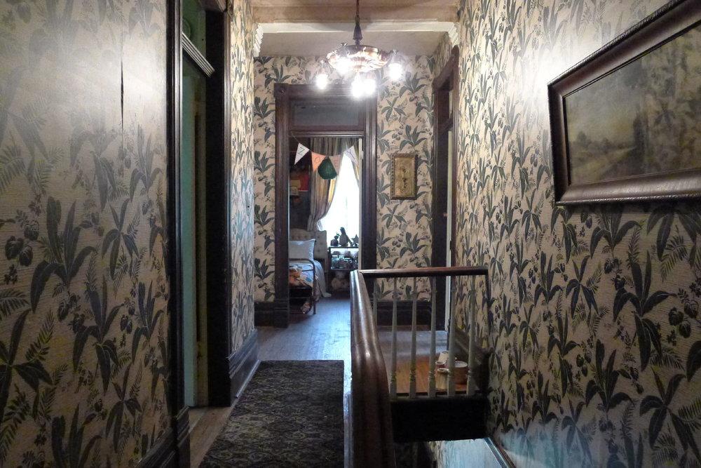 The weird and wonderful upstairs hallway in Zed's (Milo Manheim) Zombietown hovel.