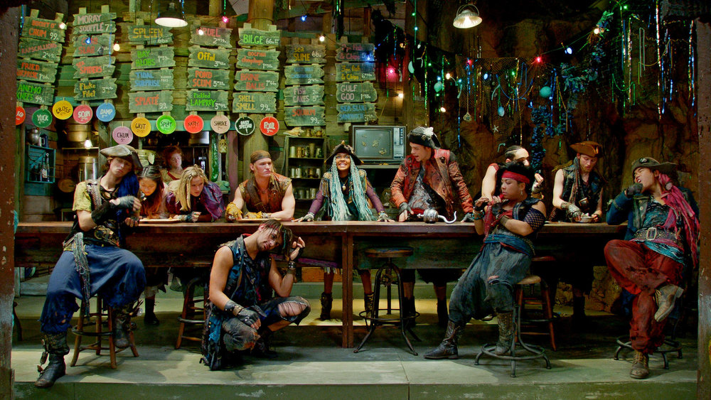 Uma (China Anne McClain) and her pirate gang, including her trusted lieutenants Harry Hook (Thomas Doherty) and Gil (Dylan Playfair) rally to take back what is their's in Uma's mother's dingy tidal pool of a Fish and Chips Shoppe.