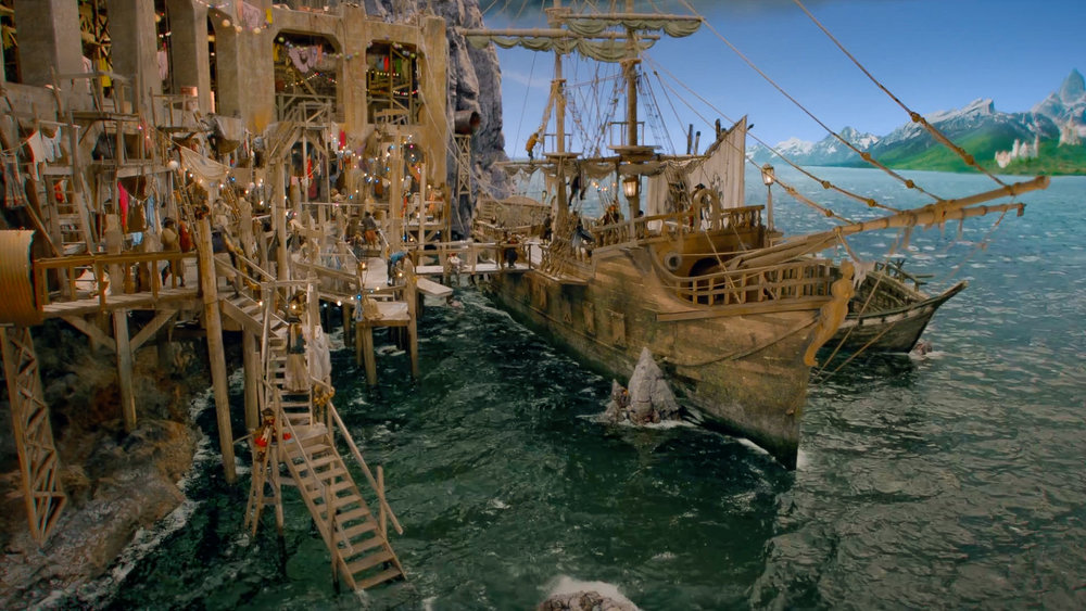Isle of the Lost dock and pirate ship after VFX.