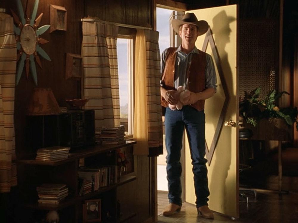 Matthew Modine entering Sonny's trailer Interior stage set.