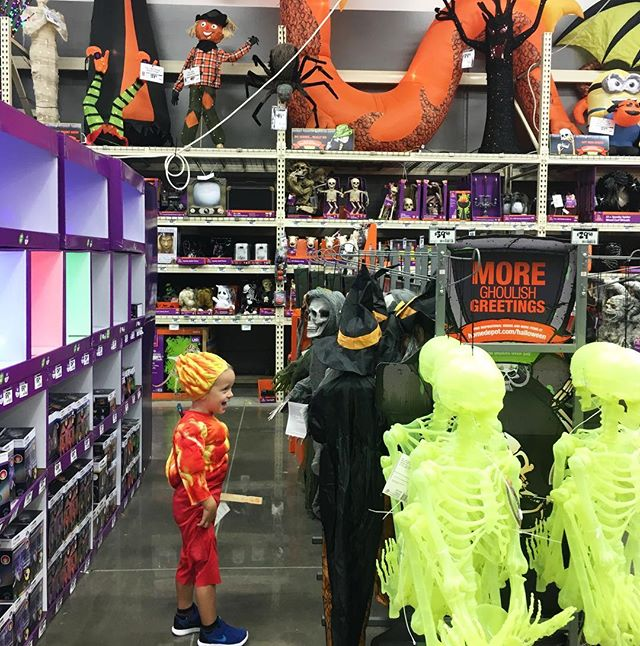 Our #homedepot trip took twice as long as it needed to today. #loveshalloween🎃 And Please disregard the fact that B is wearing his costume from 2 years ago, and insists on doing so frequently. 😂 #dressupfordays @spencerhyde