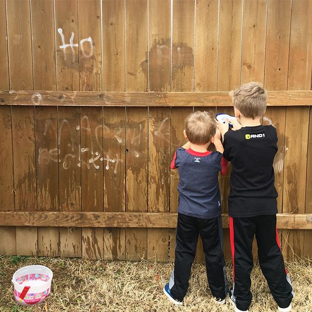 30 minutes into their 300 hr community service consequence for tagging the fence. #brothershyde @spencerhyde