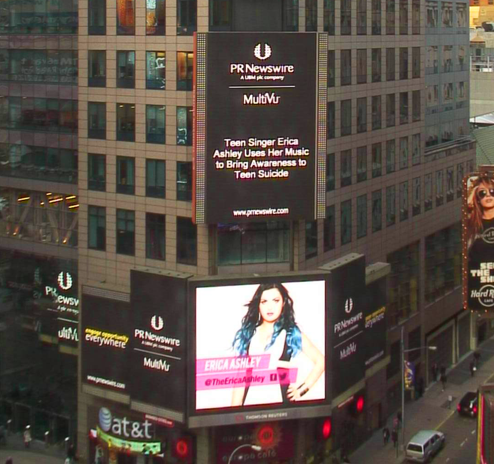 Erica Ashley's story makes it to the Reuters sign in Times Square, NYC!