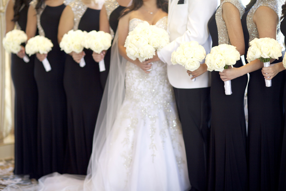 bride and bridesmaids, black dresses with sparkle, white flowers - wish social events