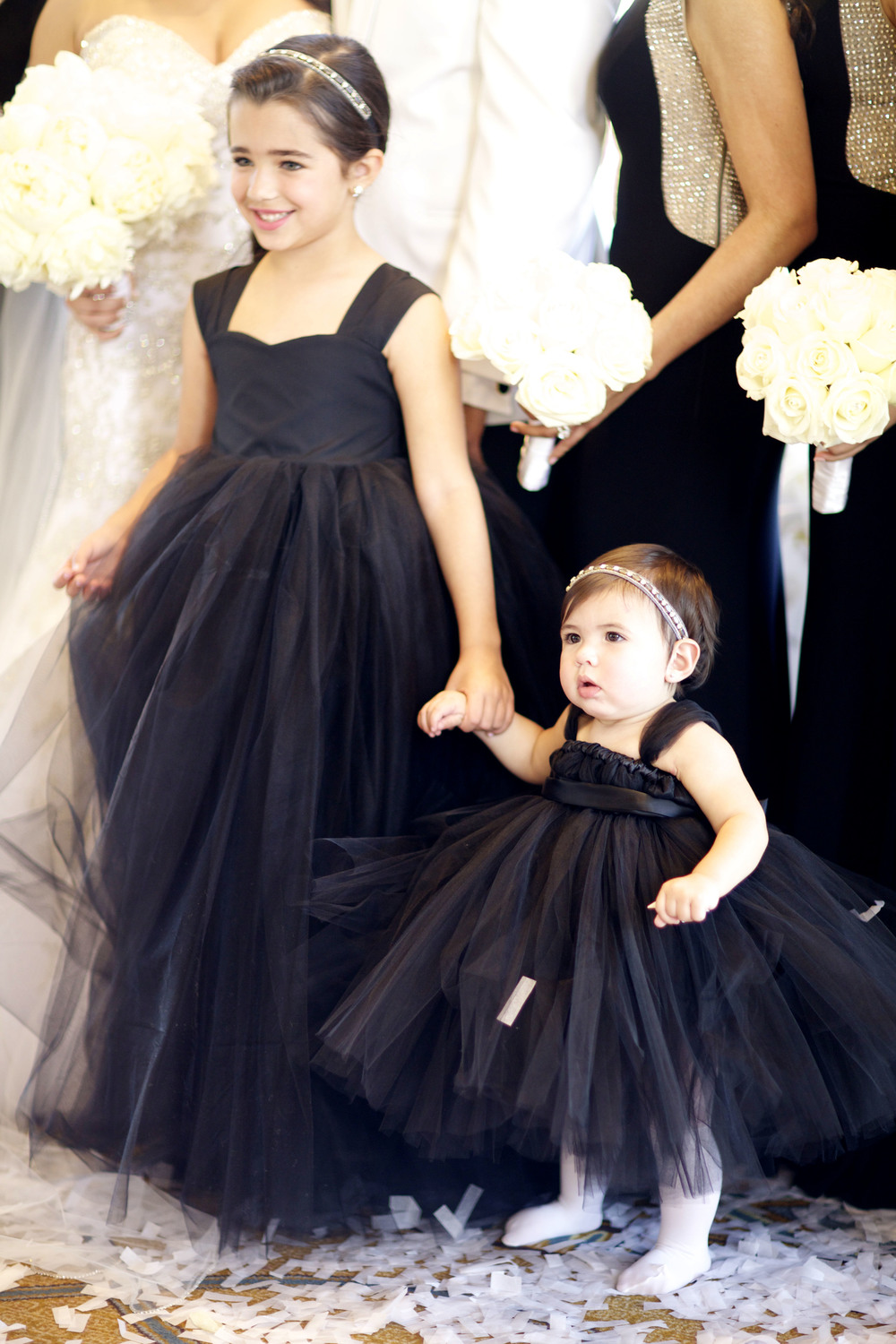 flower girls in black tulle - wish social events