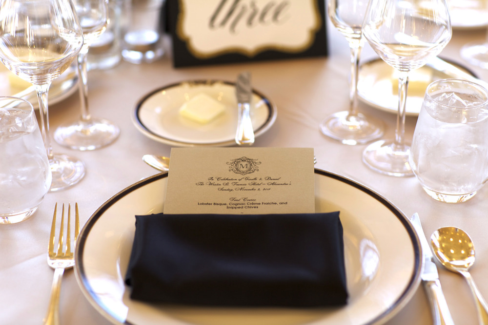 monogram menu - wish social events