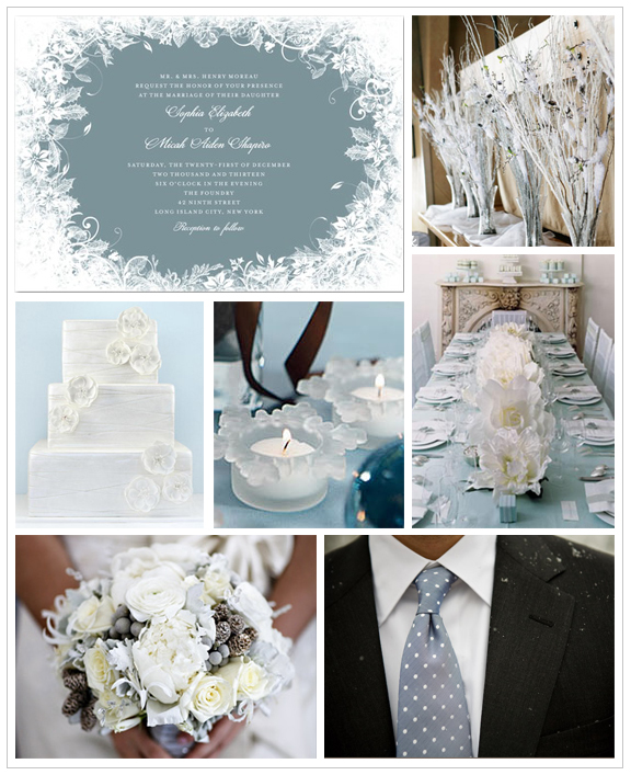 L to R: Wedding Paper Divas Enchanted Frost invitation, Branches, Cake, Frosted Glass Snowflake Tea Lights, Tablescape, Bouquet, Groom's Attire Via WPD Blog