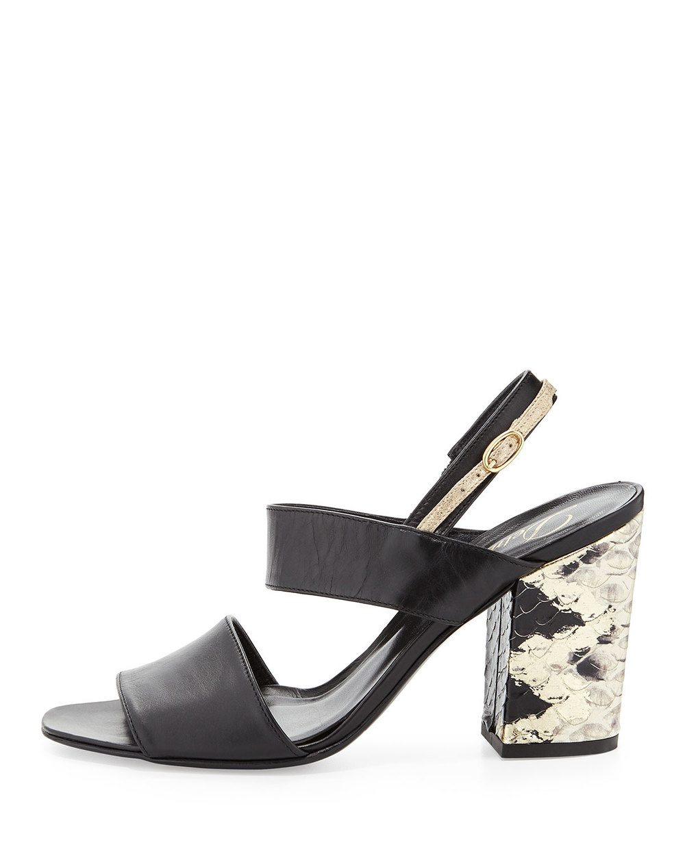 Snake-embossed block heels > non-snake-embossed block heels. Delman block-heel sandals, $202, at  Neiman Marcus .