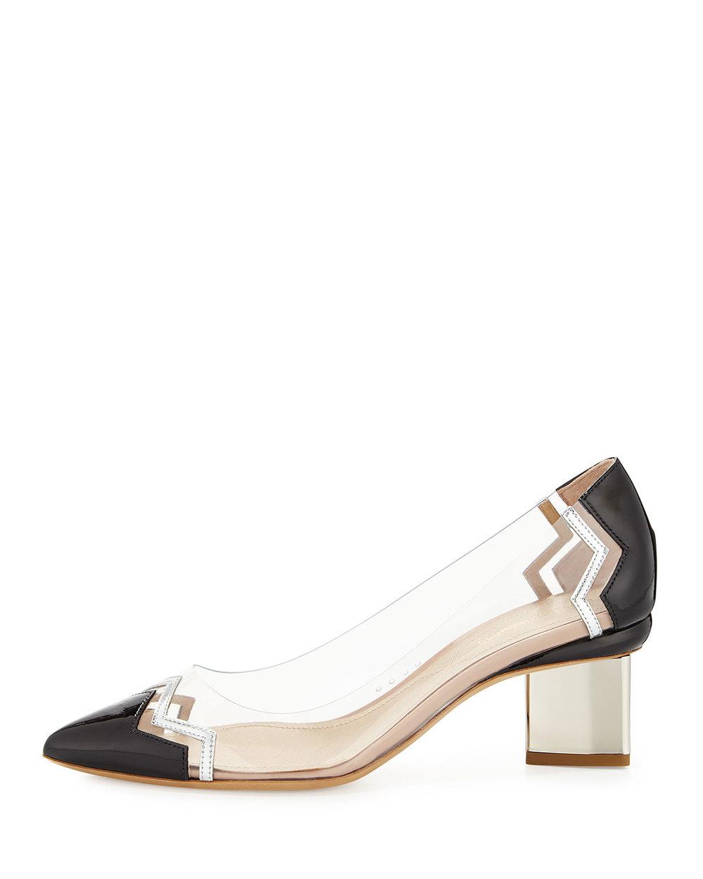 Glass slippers worthy of a punk rock Cinderella.  Nicholas Kirkwood chevron block-heel pump, $785, at  Neiman Marcus .