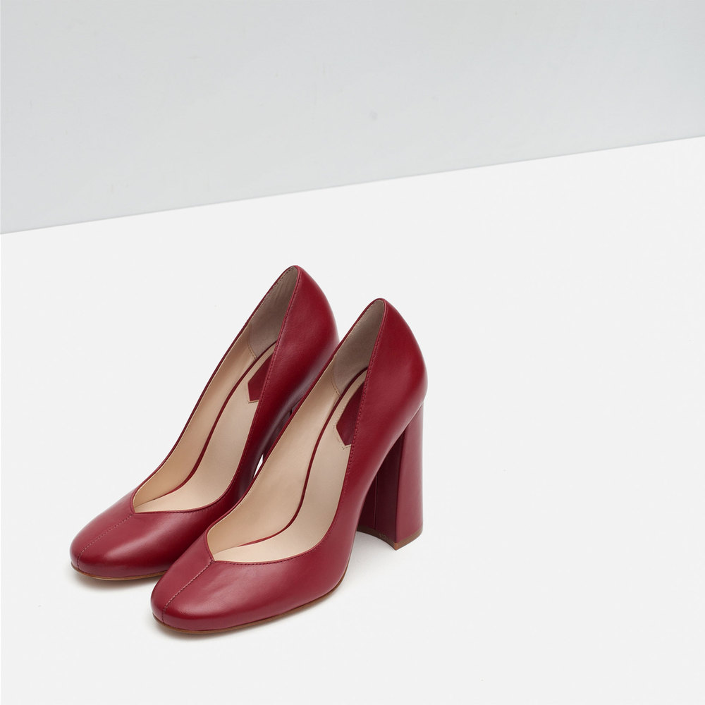 A rich shade of oxblood pairs pretty with the foliage still sprinkled across the city streets.  Zara block heel leather heels, $89.90, at  Zara.