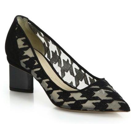 A geometric block heel and houndstooth print? Ooof, thank you sweet baby Jesus.  Nicholas Kirkwood Houndstooth Mesh Pumps, $695, at  Saks .