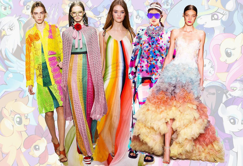 From left: Christopher Kane, Gucci, Chloe, Chanel and Marchesa.