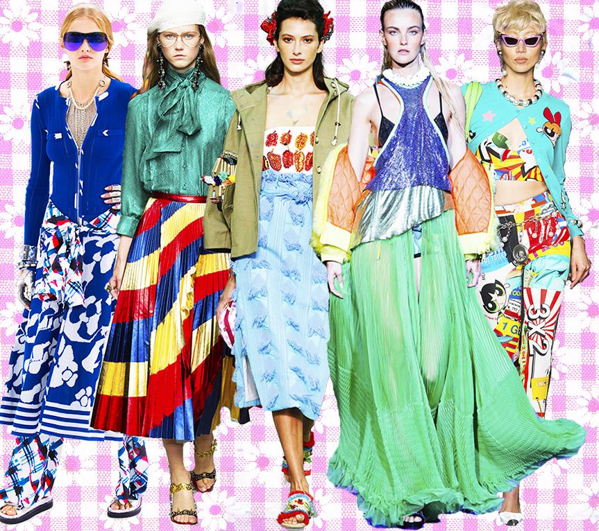 From left: Chanel, Gucci, Stella Jean, DSquared2, Moschino.