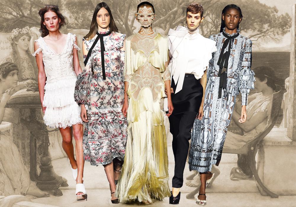 From left: Alexander McQueen, Etro, Givenchy, Lanvin, Etro.