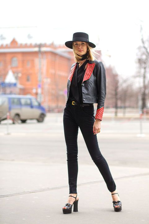 Pair a leather jacket with super skinnies and a dope hat. Via  Harper's Bazaar .