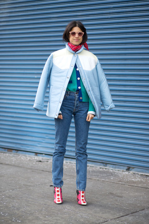 Man Repeller's Leandra Medine in a Miu Miu coat and Valentino boots, via  Harper's Bazaar .