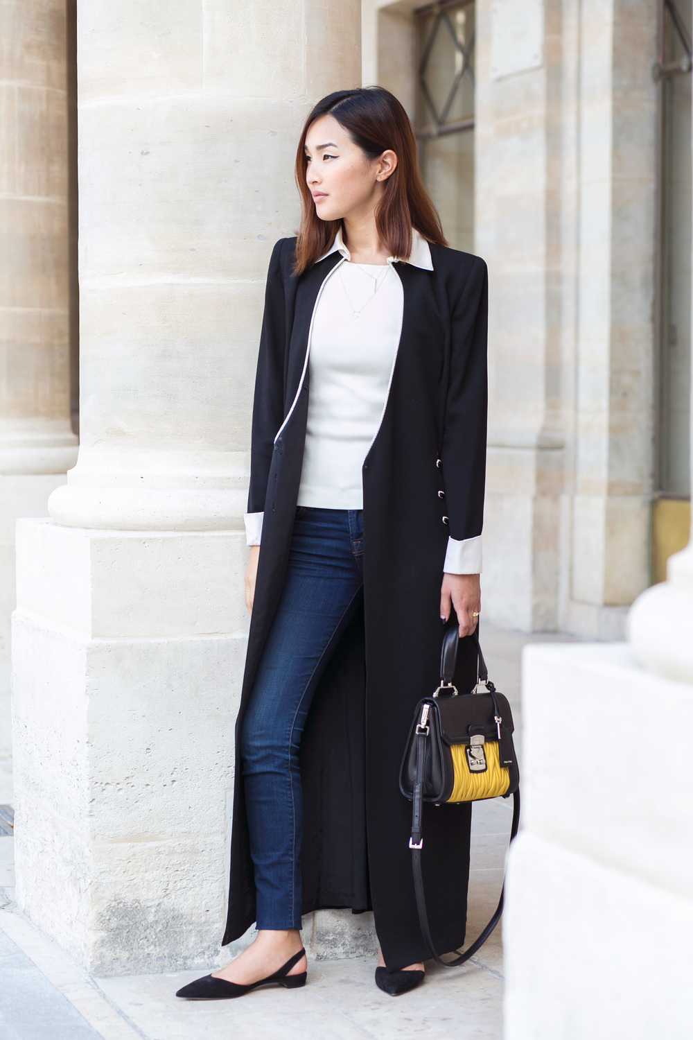 Nicole Warne in a vintage coat and Miu Miu bag, via  Gary Pepper Girl .